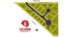 Saginaw Sunset Lot Map with Dimensions